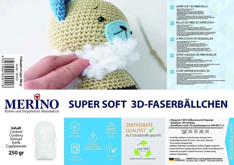 Merino-Betten F/üllwatte 1 Kg Beutel F/üllmaterial aus 100/% Silikonisiertem Polyester Faserb/ällchen Bastelwatte 3D Perlen super weich und formbest/ändig