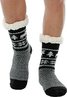 WYTartist, Calcetines para hombre con forro polar mullido, cálidos y con suela antideslizante, gruesos y pesados, de Navidad, con ciervos, para el invierno
