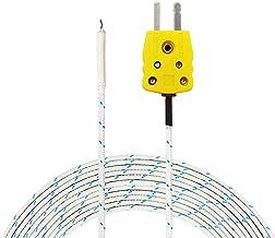PerfectPrime TL0400, 4 metros de largo, Sonda de sensor de tipo K para termometro/medidor de termopar tipo K en rango de temperatura de hasta 400°C/752°F