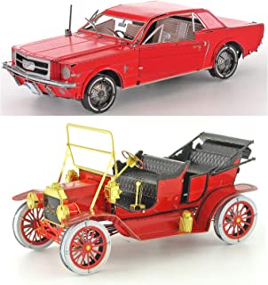 fascinations Metal Earth 3D Metal Model Kits Ford Set of 2 - Red 1908 Model T and Red 1965 Mustang Coupe