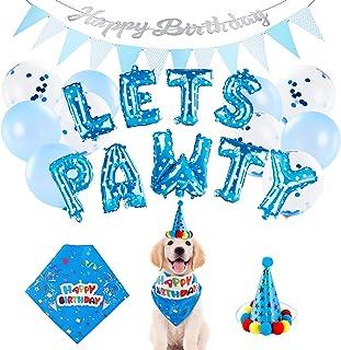 Dog Birthday Party Supplies with Bandana Hat - Dorakitten Puppy Birthday Decorations Lets Pawty Letter Balloons & Happy Bi...