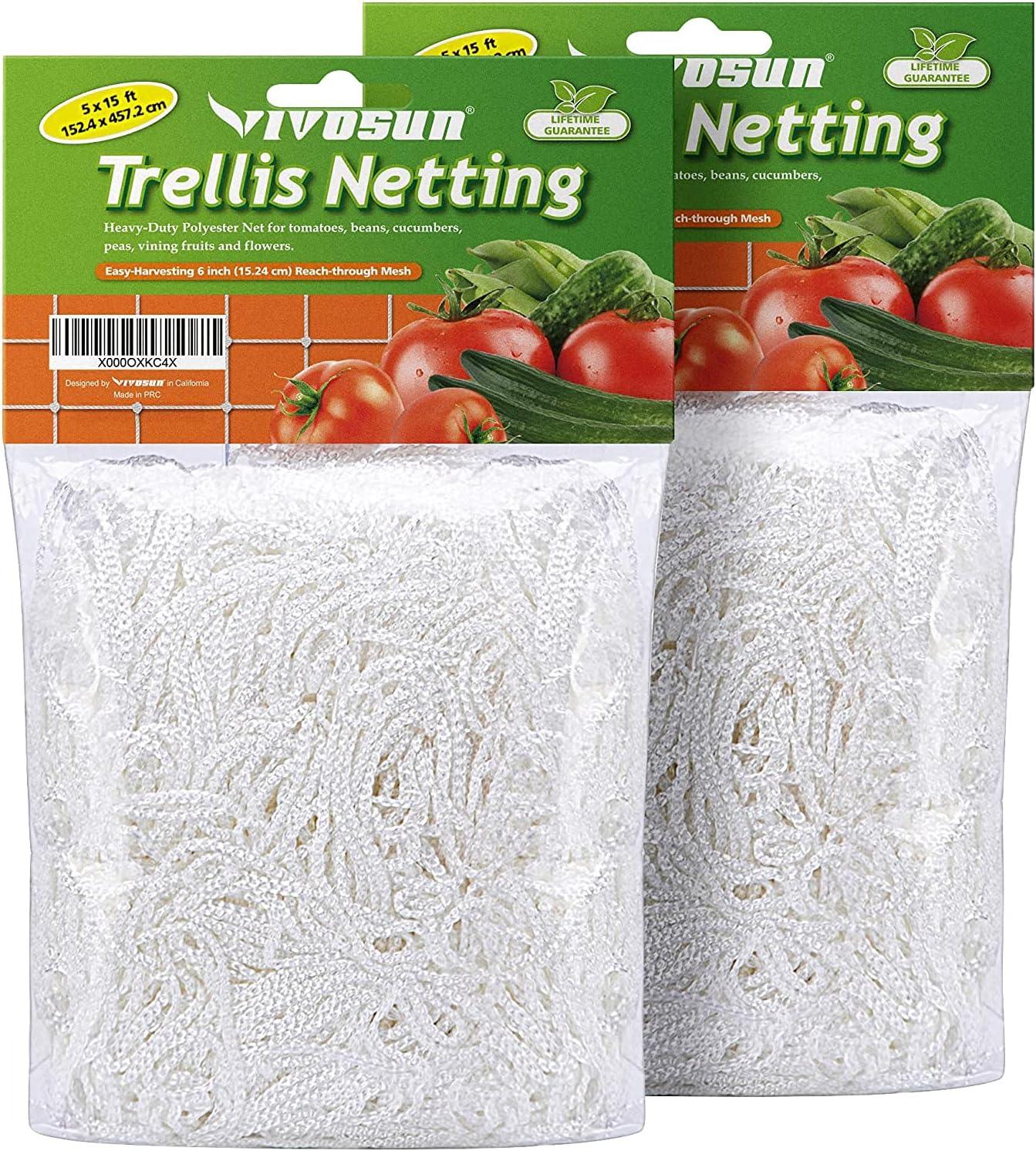 VIVOSUN Heavy-duty Polyester Plant Trellis Netting 5 x 15ft, 1 Pack : Patio, Lawn & Garden