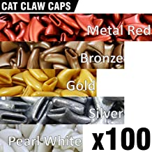 100 pcs Soft Cat Claw Caps for Cats Nail Claws 5X Colors + 5X Adhesive Glue + 5X Applicator, Pet Tips Cover Paws Soft Covers (M, Metal Red, Bronze, Gold, Silver, Pearl White)