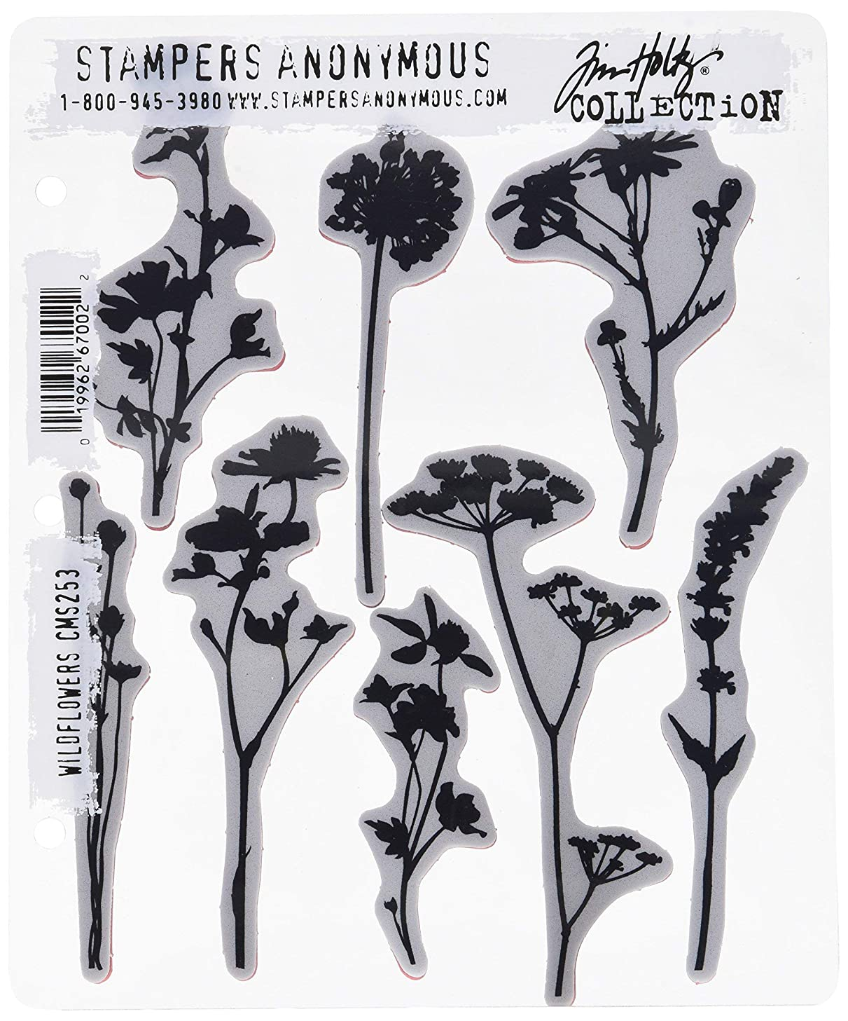 Stampers Anonymous CMS253 Wildflowers Tim Holtz Cling Stamps, 7