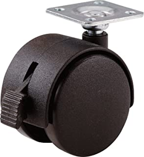 Shepherd Hardware 9579 2-Inch Office Chair Caster, Twin Wheel with Brake, 1-1/2-Inch Sq. Plate, 75-Lb Load Capacity