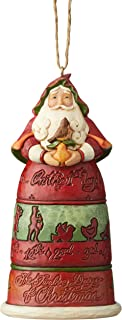 Jim Shore Heartwood Creek 6004300 12 Days of Christmas' Santa Hanging Ornament, Resin,4.65 Inches, Multicolor