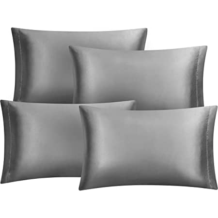 Hansleep 4 Pack Satin Pillowcases for Hair and Skin, Dark Grey Ultra-Soft Pillow Cases Cover Set with Envelope Closure, Fade Resistant - 50 x 75 cm