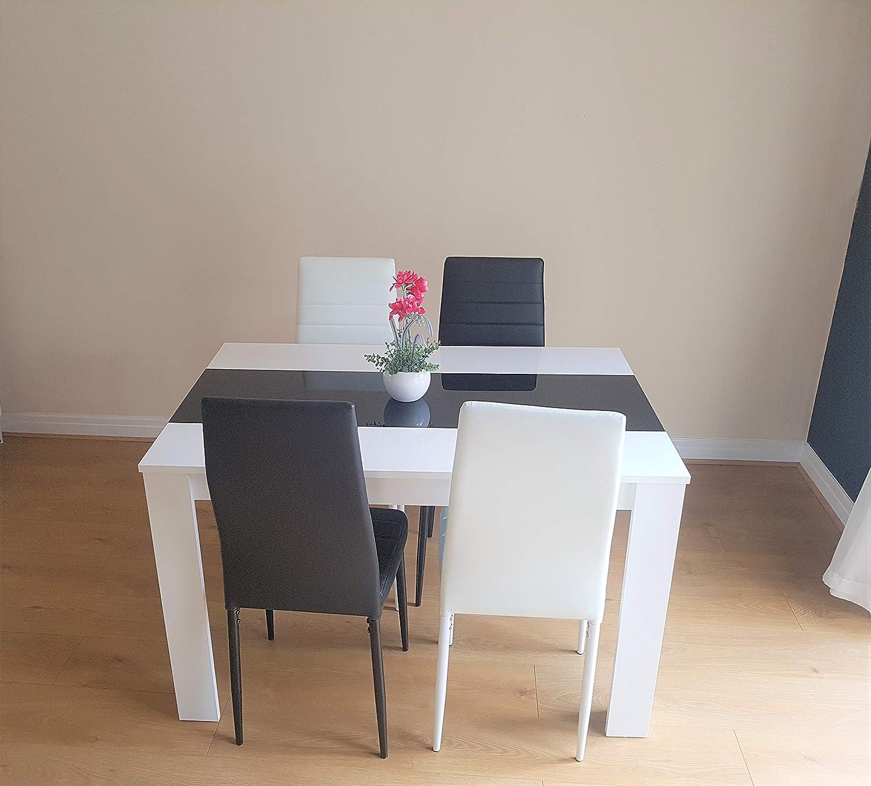 KOSY KOALA Table de Salle à Manger noire et blanche en Bois et 6 Chaises en Faux Cuir et en Métal - Table Seulement, sans les Chaises Table avec Mélange de Chaises.