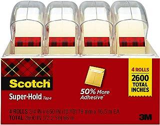 شريط سكوتش فائق التثبيت، 4 لفافات، لمسة نهائية شفافة، لاصق أكثر بنسبة 50%، يفضله موثوق به، 2/4 × 650 بوصة، مسترسل (4198)