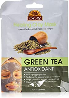 Okay Healing Clay Mask - Green Tea For All Skin Types Antioxidant Anti-Aging, 1.5 Ounce (Pack of 72)