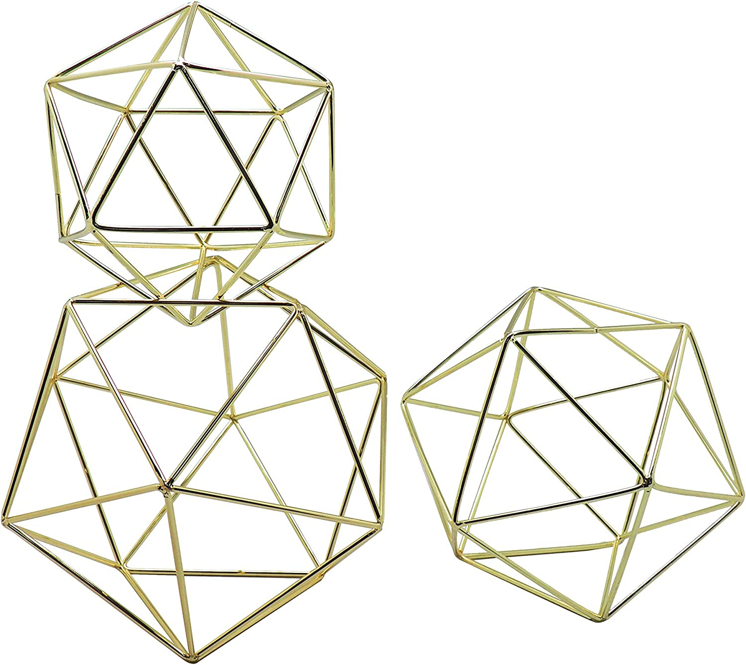 Amazon Com Koyal Wholesale Geometric Decor Shapes Set Of 3 Assorted Sizes For Table Centerpiece Flower Holders Gold 3d Hanging Decorations Himmelis Prisms Home Kitchen