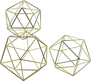 Koyal Wholesale Geometric Decor Shapes, Set of 3 Assorted Sizes for Table Centerpiece Flower Holders, Gold 3D Hanging Decorations, Himmelis Prisms