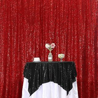 SquarePie Pailletten Hintergrund für Fotografie, Glitzervorhang, Party, rot, 8x8FT