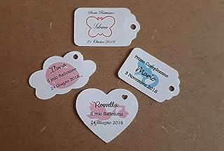 ArtigianeriA - Set di n°10(o più) ETICHETTE in cartoncino per realizzare BOMBONIERE fai da te personalizzabili con TESTO, ...