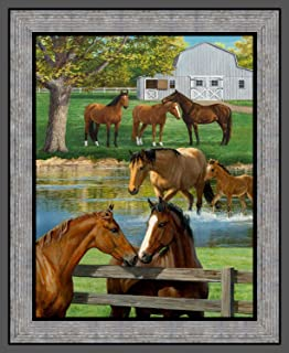 Wild Wings Summer Horse Panel Cotton Fabric 36 X 44 Inches