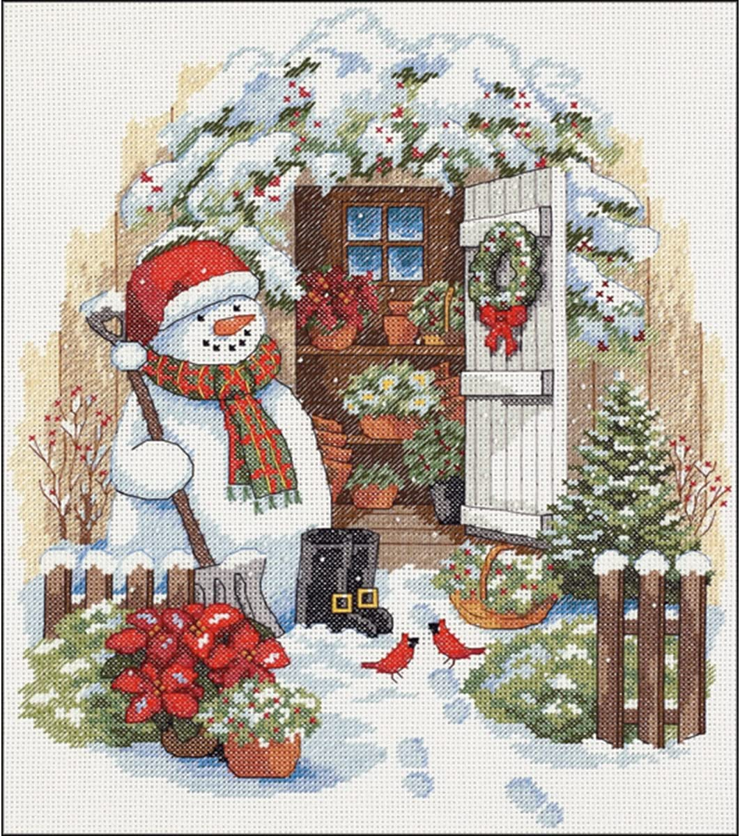 DIMENSIONS Limited time trial price Washington Mall Counted Cross Stitch Kit Snowman' Shed 'Garden 14 Cou