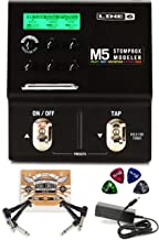 Line 6 M5 Stompbox Modeler Pedal with Built-In Guitar Tuner and True Bypass Bundle with Blucoil 2-Pack of Pedal Patch Cabl...