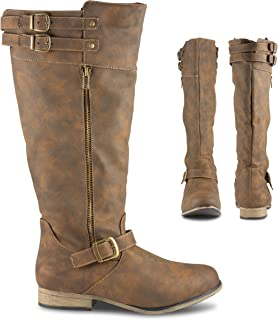 Twisted Noah Women's Knee High Boots, Buckle Straps, Wide Calf & Foot Ladies Shoes, Dark Taupe, 9