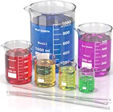 Borosilicate Glass Beaker Set (Pack of 6) - Graduated Low Form Measuring Beakers in Various Sizes (25/50/100/250/500/1000 ml) - Comes with 3 Glass Stirring Rods - for School Science Project and Party