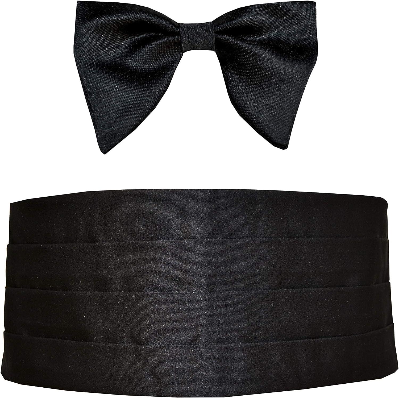 Remo Sartori Made in Italy Men's Black Cummerbund Tuxedo & Butterfly Oversize Bow Tie Set, Silk