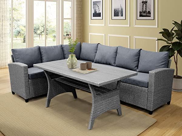 LZ LEISURE ZONE Patio Dining Table Set Outdoor Furniture PE Rattan Wicker Conversation Set All Weather Sectional Sofa Set With Table Soft Cushions Grey
