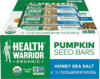 Health Warrior Pumpkin Seed Protein Bars, Honey Sea Salt, 8g Plant Protein, Gluten Free, Certified Organic,...