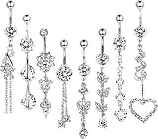 8 Pcs 14G Dangle Belly Button Rings for Women Girls 316L Surgical Steel Curved Navel Barbell Body Jewelry Piercing