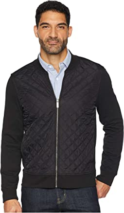 Quilted Mix Media Knit Jacket