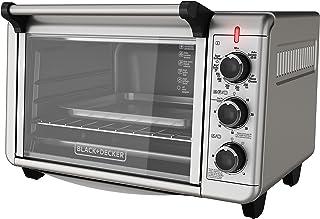 BLACK+DECKER TO3210SSD horno tostador de convección para encimera, para 6 rodajas de pan, incluye bandeja para hornear, parrilla para asar, parrilla para tostar, acero inoxidable/negro, horno tostador de convección para encimera