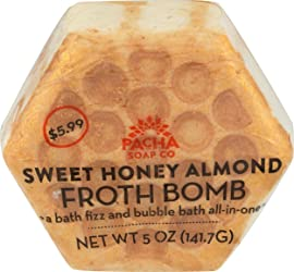 Pacha Soap, Froth Bomb Sweet Honey Almond Honeycomb, 5 Ounce