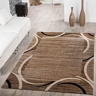 T&T Design Alfombra De Salón Económica con Ribete Motivo Semicírculos Jaspeada Marrón Beige, Größe:160x220 cm
