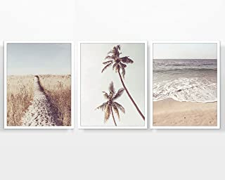 Beach Themed Photography prints, Set of 3, UNFRAMED, Coastal Palm Trees Waves Ocean Wall art decor poster sign, 8x10