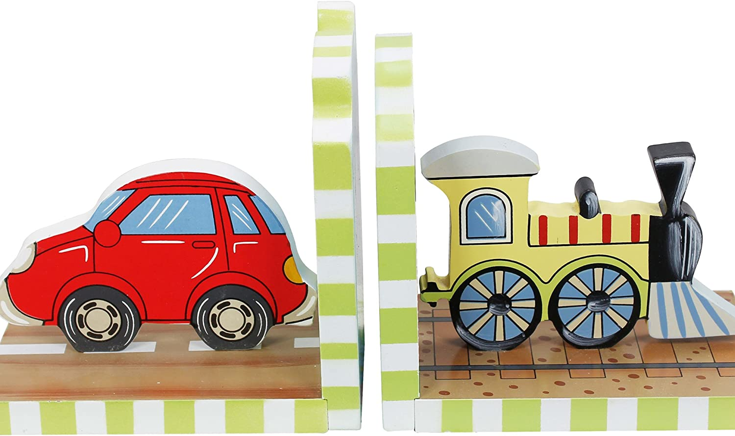 Fantasy Fields - Transportation Thematic Set of 2 Wooden Bookends for Kids   Imagination Inspiring Hand Crafted & Hand Painted Details   Non-Toxic, Lead Free Water-based Paint