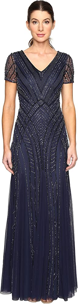 Adrianna papell long v neck beaded gown gunmetal at 6pm.com
