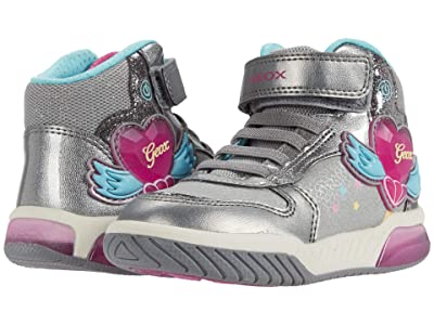 Geox Kids Inek 3 (Little Kid) (Dark Silver/Fuchsia) Girl