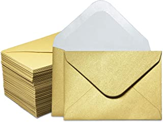Gift Card Envelopes - 100-Count Mini Envelopes, Paper Business Card Envelopes, Bulk Tiny Envelope Pockets for Small Note Cards, Gold, 4 x 2.7 Inches