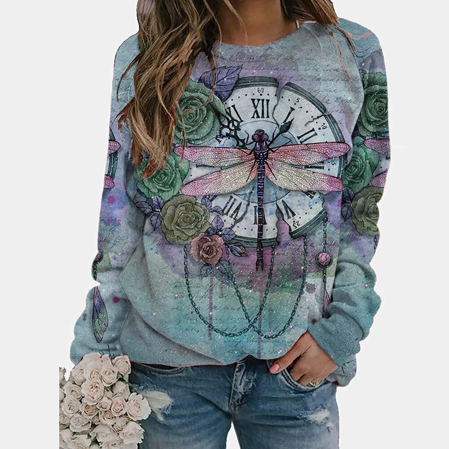 Zellaite Shirts for Women Plus Size Graphic Tees Long Sleeve Dragonfly Print Casual Crewneck Sweatshirts Pullover Tops