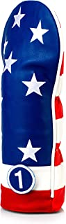 Pins & Aces Golf Co. USA Tribute Premium Headcover - Quality Leather, Hand-Made Golf Wood Head Cover - Style Customize Your Golf Bag - Tour Inspired, American Stars & Stripes Design
