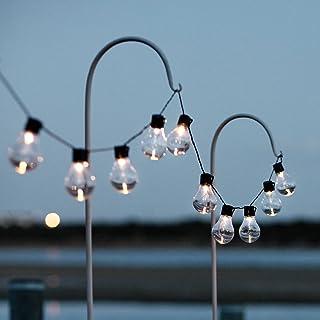 Lights4fun Guirnalda Solar de 20 Bombillas Decorativas con LED Blancos Cálidos para Exteriores