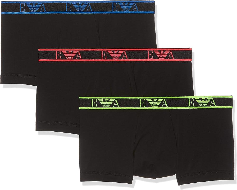 Emporio armani, mutandine, boxer per uomo, 95% cotone, 5% elastan, 3 paia 11670C