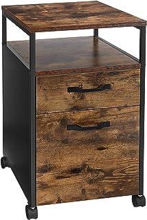 VASAGLE Caisson de Bureau 2 tiroirs, Placard de Rangement Mobile, avec roulettes, Emplacement Ouvert, Style Industriel, Ma...