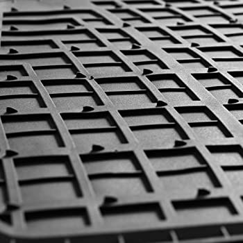 FH Group Black F11311BLACK Rubber Floor Mat(Heavy Duty Tall Channel, Full Set Trim to Fit)