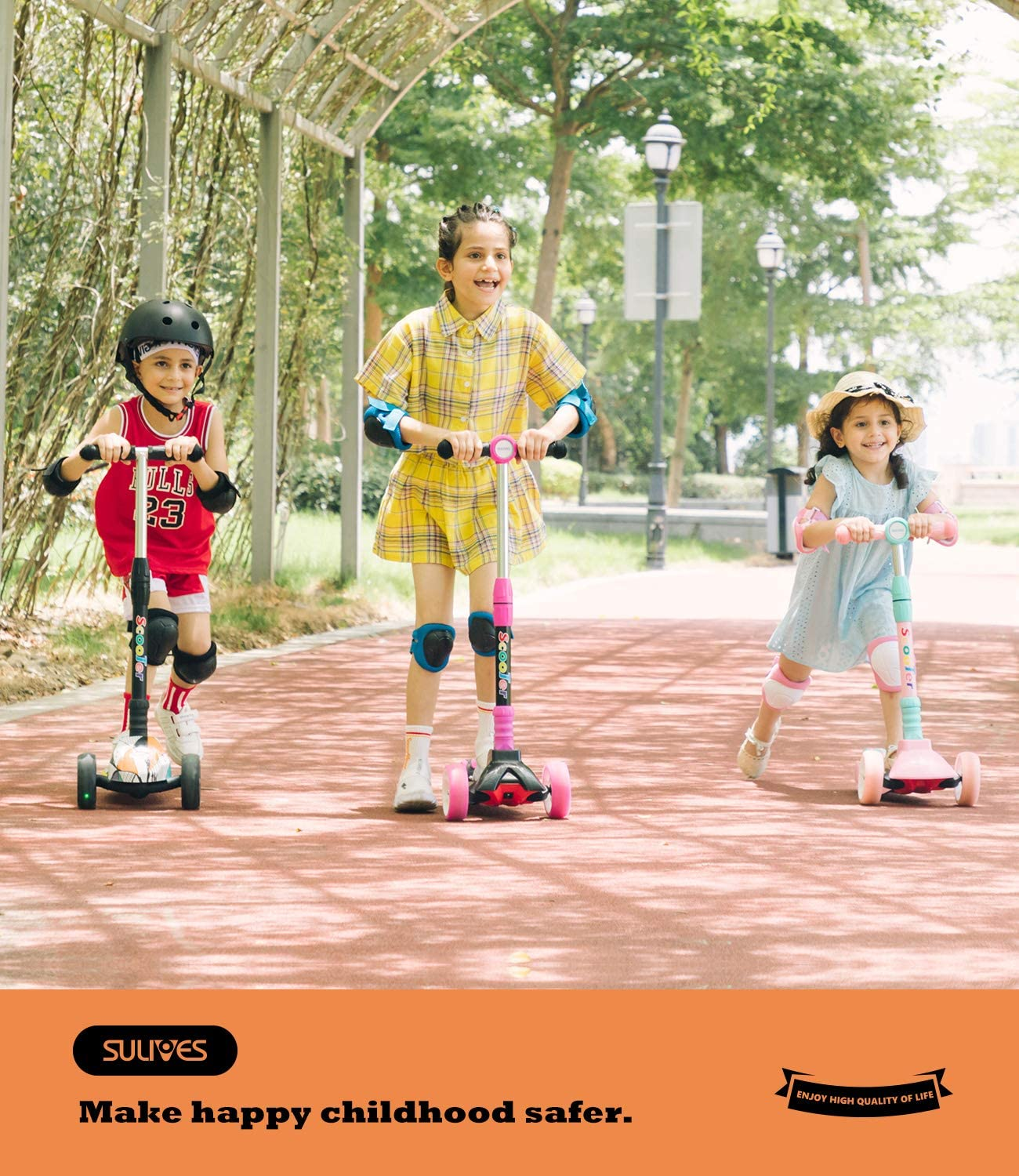 SULIVES Kick Scooter for Toddlers Girls /& Boys with Cool LED Light 3 Wheel Childrens Scooter with Geometric Mosaic Color Style for Ages 3-5 6-12