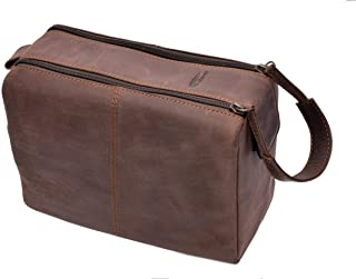 Menzo Leder Kulturbeutel, Kulturtasche, Toilettentasche für die Reise, Herren und Damen Marrone