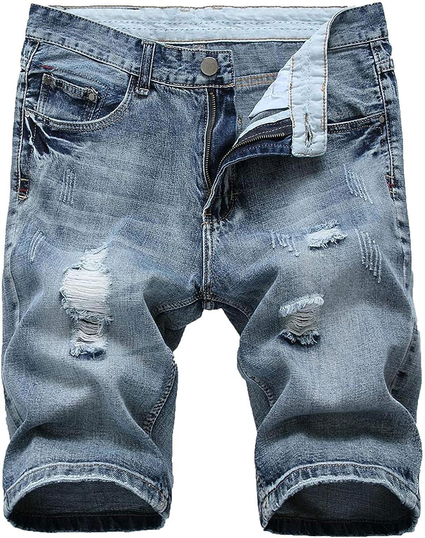 LLTT Men's Casual Ripped Short Jeans Man's Mid Waist Distressed Slim Fit Straight Denim Shorts