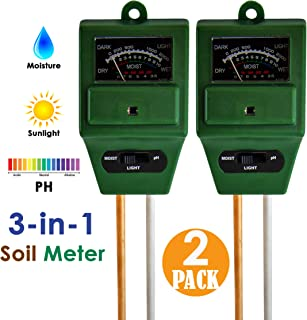 [2 Pack] Soil Testing Kit - pH Meter, Moisture and Light 3 in 1 Tester, Water Monitoring for Weed, Seed Potting, Tree Growing, Greenhouse, Farm, Home, Garden, Lawn, Indoor and Outdoor Plants Care