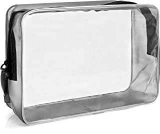MyGadget Transparent Toiletry Bag - Clear Travel Luggage Pouch Airport Control Cosmetic Make-Up Plastic Bag (Waterproof PVC) Storage Organiser - Size L