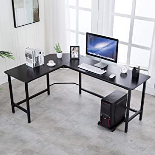 VADIM L-Shaped Computer Desk 66x47 inch with Computer CPU Stand Cart free Home Office Corner Desk fit Multiple screens or Computers, Black