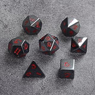 DND RPG Gemstone Dice Set of 7 - Luxury Dark Grey Black Hematite Stone Dice with Red Numbers, Handcrafted Premium Semi Pre...