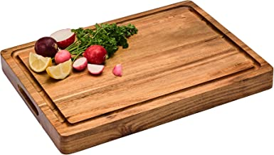 Large Reversible Multipurpose Thick Acacia Wood Cutting Board: 16x12x1.5 Juice Groove & Cracker/Bread Holder (Gift Box Inc...